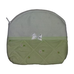 Necessaire Bag to Cross Stitch - Light Green - Daisies