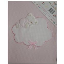 Baby Crib Blanket - Rhombus Interlock Fabric - Pink