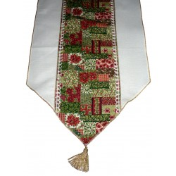 Stitchable Cream Runner - Christmas Poinsettia