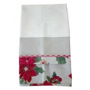 Christmas Terry Dish Towel with Poinsettias
