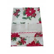 Christmas Dish Towel with Poinsettias