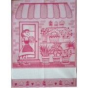Red Kitchen Towel - The Flower Girl