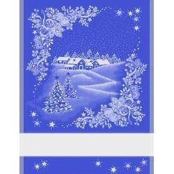 Dishtowel with Christmas Landscape - Blue