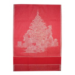 Red Stitchable Kitchen Towel - Christmas Tree