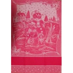 Red Christmas Kitchen Towel - Snowman