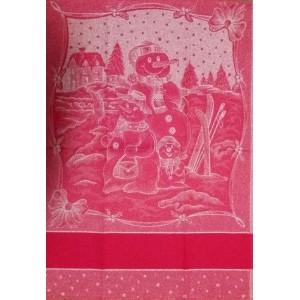 Paño de Cocina Navideño Rojo - Muñecos de Nieve