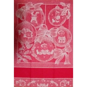 Red Christmas Kitchen Towel - Balls and Bows