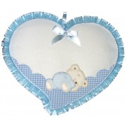 Baby Cockade Announcement - Light Blue Heart  with Sleeping Teddy Bear