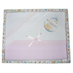 Baby Bed Sheets to Cross Stitch - Pink with St Gallen