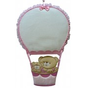 Baby Cockade Announcement - Air Balloon with Teddy Bear - Pink