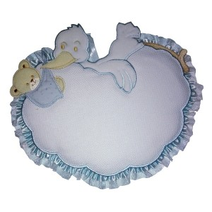 Baby Cockade Announcement - Light Blue Cloud with Stork and Teddy Bear