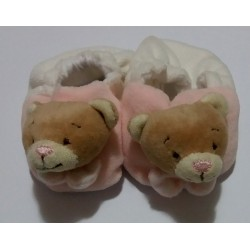 Baby Shoes with Teddy Bear - Pink