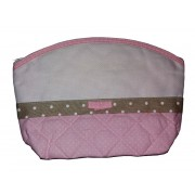 Baby Necessaire Bag to Cross Stitch - Pink and Ivory with White Dots