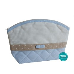 Baby Necessaire Bag to Cross Stitch - Light Blue and Ivory with White Dots