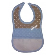 Baby Bib to Cross Stitch - Light Blue and Ivory with White Dots