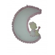 Baby Cockade Announcement - Teddy Bear on the Moon - Pink