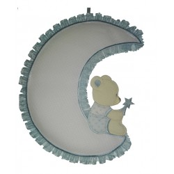 Baby Cockade Announcement - Teddy Bear on the Moon - Light Blue
