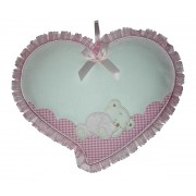 Baby Cockade Announcement - Pink Heart  with Sleeping Teddy Bear