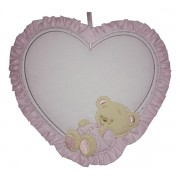 Baby Cockade Announcement - Pink Heart  with Happy Teddy Bear
