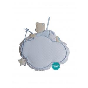 Coccarda Nascita - Nuvoletta con Orsetto e Stella Celeste
