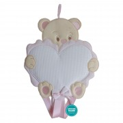 Baby Cockade Announcement - Pink Bear with Aida Heart