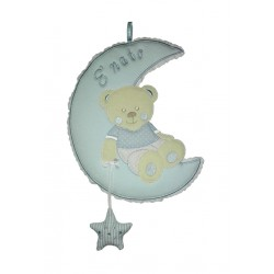 Baby Cockade Announcement - Teddy Bear on the Moon with Star - Light Blue