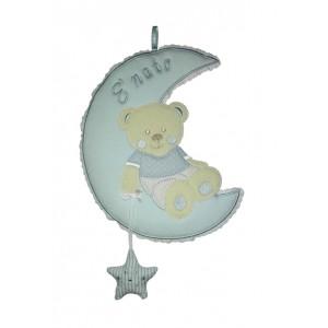 Colgante para la Puerta del Bebè - Oso en la Luna con Estrella - Celeste