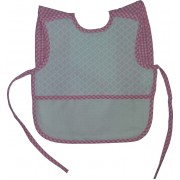 Terry Baby Bib with Braces - Pink Square