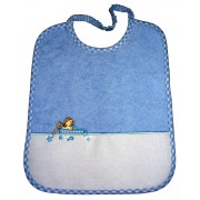 Terry Baby Bib Chick - Light Blue Squares