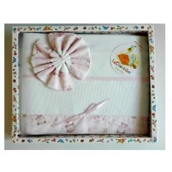 Set Baby Crib Sheets - Little Linen Pink - Teddy Bear