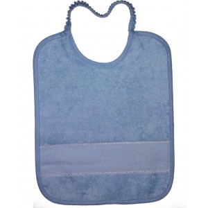 Terry Baby Bib with Aida Band and Elastic  - Color Light Blue