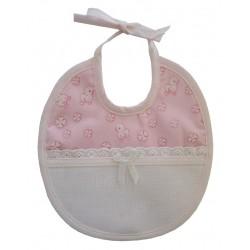 Bavaglino Bebé da Ricamare - Millerighe Papere Rosa