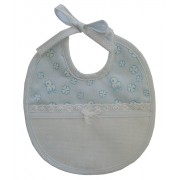 Baby Bib to Cross Stitch - Light Blue Ducks