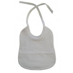 3 - 6 months Baby Bib to Cross Stitch - White Color