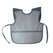 Terry Baby Bib with Braces - Light Blue Square