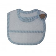Terry Baby Bib to Cross Stitch with Strap Closure - Light Blue Teddy Bear