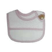 Terry Baby Bib to Cross Stitch with Strap Closure - Pink Teddy Bear