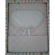 Baby Crib Cover in Quilted Fabric - Scottish Line - Pink Color