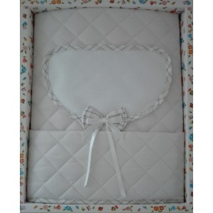 Baby Crib Cover in Quilted Fabric - Scottish Line - Turtledove Color