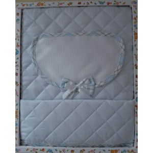 Baby Crib Cover in Quilted Fabric - Scottish Line - Light Blue Color