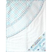 Triangular Baby Bathrobe - Scottish Line - Light Blue Color