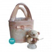 Pink Object Older Sack with Fleece Blanket and Teddy Bear Ring