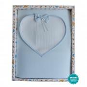 Light Blue Baby Fleeze Blanket wit Aida Fabric Heart