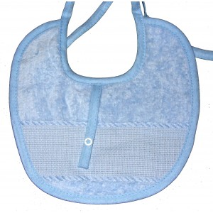 Terry Baby Bib with Pacifier Clip - Light Blue