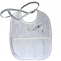Terry Baby Bib with Pacifier Clip - White