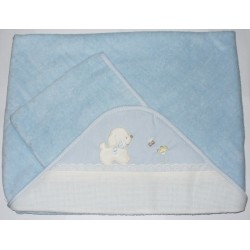 Bath Baby Cape and Wash Mitt - My Baby - Light Blue