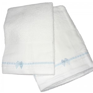 Set of Bath Terry Towels for Baby to Cross Stitch - Vichy Light Blue