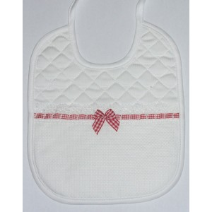 Soft Bib for your Baby - Vichy Lines -  Red