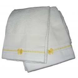 Set of Bath Terry Towels for Baby to Cross Stitch - Vichy Yellow