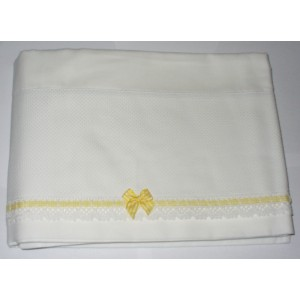 Baby Bed Sheet to Cross Stitch - Vichy Yellow